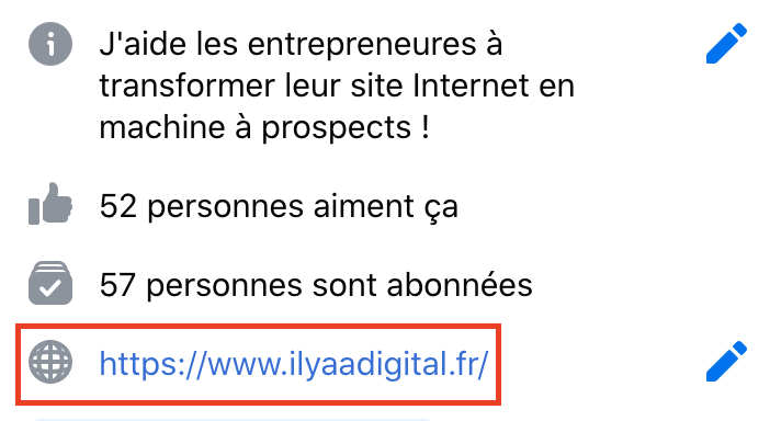 Générer du trafic sur son site Internet en mettant son site Internet dans son profil Facebook.